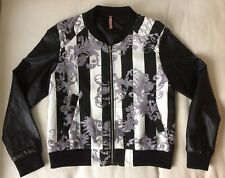 Sweewë Sweewe Paris Jacket Black Grey & White with stripe faux leather sleeves M