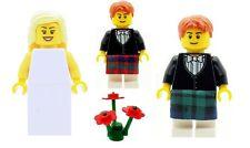 LEGO SPOSA e SPOSO in Verde Scozzese Kilt MINIFIGS & Free Rosso Kilt nuovo