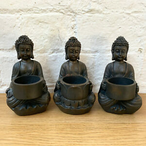S/3 Resin Sitting Buddha Indoor Home Tea Light Votive Candle Holder Ornaments