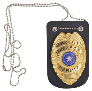 Genuine Leather Badge Holder Universal Black
