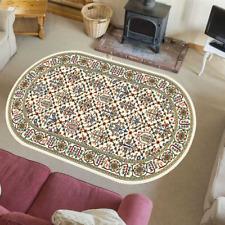 Teppich Orientteppich Klassisch Wohnzimmer Orientalisch Perser Tamir Creme Oval