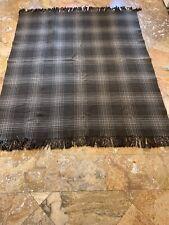 "Vintage Brown/Ivory Wool Checkered Plaid Fringe Blanket Throw (69"" x 60"")"