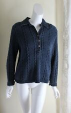Blue Willi's Sz M Indigo Cotton Denim Jean V-Neck Cable Sweater