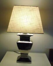 TISCHLAMPE 52cm LAMPENSCHIRM ECKIG STOFF ecru SILBERFUSS Keramik E27 40W A++