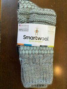 Smartwool Women's Popcorn Cable Crew Merino Wool Socks Lunar Gray Size SMALL