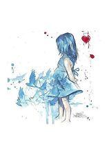 ART PRINT - Blue Girl by Lora Zombie Little Child Bird Heart Poster 14x20