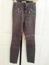 "Auth. NWT- J BRAND ""Claudette"" Stretch Lambskin Leather Pants Size 0, GRANITE"