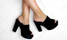 LADIES BLACK LASER CUT SLIP ON HEELED SANDAL MULES SIZE EU 39