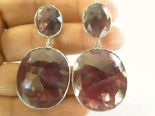 Natural Pink Sapphire 2-Stone 925 Sterling Silver Dangle Drop Stud Earrings