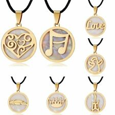 Fashion Gold Round Stainless Steel Shell Women Necklaces Pendant Leather Chain