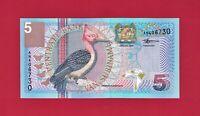 SURINAME FIVE GULDEN 2000 UNC NOTE - (P-146) PRINTER: THOMAS DE LA RUE, ENGLAND