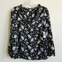 Old Navy Floral Top Blouse Womens XS V-Neck Cross Ruffle Black Ivory Gray New