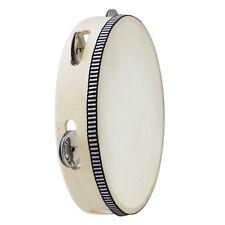 Handheld Wooden 8-Inch Tambourine w/ Skin & 5 Pair of Jingle Bells ~KP_TMW8-1C