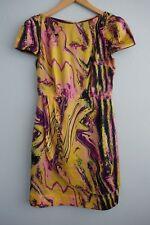 Lisa Ho Round Neck Cap Sleeve Yellows Pinks Mauve Marbled Swirls Silk Dress sz 6