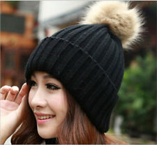 2018 Girls Women Fitted Winter Warm Wool Apparel Hat With Fur Pompon Cap WE