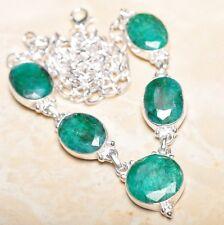 "Handmade Green Emerald Gemstone 925 Sterling Silver Necklace 19.5"" #N01084"