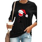 Women's Christmas Xmas Tops Wineglass Long Sleeve T-shirt Tee Pullover Blouse