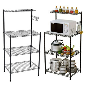 4 Tier Shelving Unit Kitchen Storage Racking Shelves Microwave Oven Stand Holder