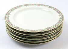 """Set of 6 Vintage Hutschenreuther 10"""" Plates, Blue Pink Floral Gold, Bavaria"""