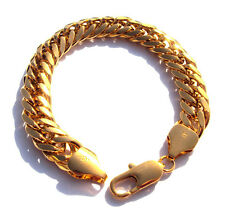 NEW MEN HEAVY 11mm 14K GOLD FINISH MIAMI CUBAN LINK CHAIN BRACELET Birthday gift