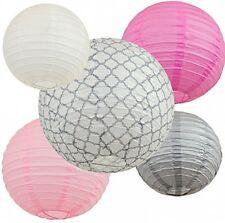 Bobee Pink And Grey Paper Lanterns, Baby Shower Girls Room Decoration, Set Of 5
