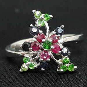 World Class .70ctw Emerald, Ruby & Sapphire 925 Sterling Silver Ring Size 7.5