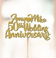 Personalised 50th Wedding Anniversary Cake Topper Decorations ANY NAMES P1032