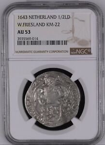 1643 Netherland W.Friesland 1/2 Lion Dollar NGC AU53 Top Finest