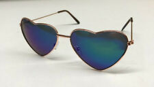 Blue Mirrored Heart Shape Glasses Sunglasses Shades 60s 70s Hippy Fancy Dress