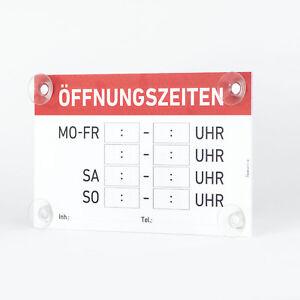 """Saugnapfschild """"Öffnungszeiten"""" Hohlkammerplatte 3mm, 25x15cm"""