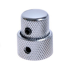 Dual Concentric Stacked Control Knobs Metal Chrome Set Electric Guitar Bass Part