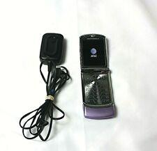 Motorola Razr V3xx Lavender Flip Phone & Charger~ At&T~ New Battery