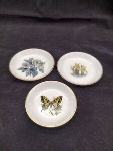 3 x Royal Worcester Bone China Pin Trinket Dishes - Daffodil Butterflies Flowers