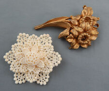 2 PC Vintage Art Deco Molded Celluloid Lace Dimensional Flower Brooch Pin Lot