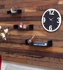 Onlineshoppee Wooden Handicraft Wall Decor Black Designer Wall Shelf Pack of 3