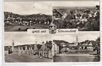 Ansichtskarte Schwandorf - Ortsansichten/Kirche/Gasthof zur Post - schwarz/weiß