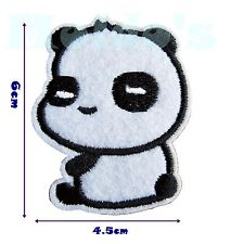 Panda Cute Iron Patch Sew Applique Badge Embroidered Bear Animal Black White 58
