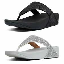 FitFlop Womens Lulu Toe Thong Glitter Sandals (Colours: Black, Silver)