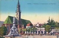 AK aus Bozen, Waltherplatz mit Waltherdenkmal und Pfarrkirche, Italien  (F18)
