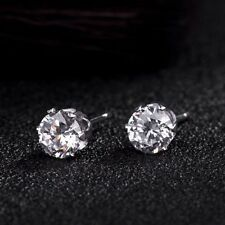 1Pairs 4mm  Men Women Round Cubic Zirconia White Gold Plated Stud Earrings Gift