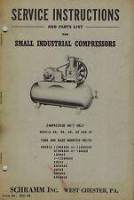 Schramm Vintage Various Models See Picture Service Parts Manual 1950