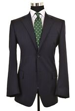 Dolce & Gabbana Navy Blue Chalk Stripe Wool 2pc Suit Jacket Pants IT 50 US 40