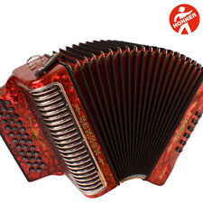 Hohner Corona II Xtreme EAD 34 Button Diatonic Red Accordion + Straps and Bag