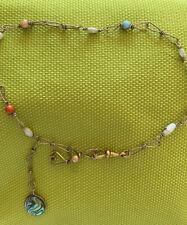 "Vtg Ankle Bracelet Goldtone Small Stones 12"""