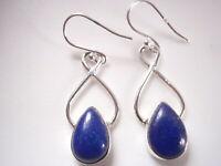 Lapis Lazuli Teardrop 925 Sterling Silver Dangle Earrings