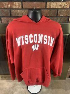 Wisconsin Badgers NCAA Football Hooded Hoodie Sweatshirt Mens XXL Bucky Madison