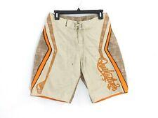 Quiksilver Mens Swim Trunks Board Shorts Size 28 Lace Up Front Tan Orange Plaid