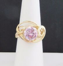 Zirconium Cz Size 7 1/2 Gold Wire Wrap Ring Pink Cubic