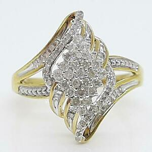 Genuine 1.02ctw H-SI Diamond Baguette 14K Yellow Gold 925 Silver Ring Size 9