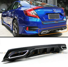 For 2016-17 Honda Civic Shark Fin Rear Bumper Diffuser W/ Decorative Exhaust Tip
